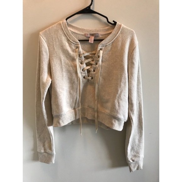 Forever 21 Tops - FOREVER 21 NUDE LACE UP CROP SWEATSHIRT f0288d338